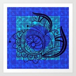 Zentangle in Blue Art Print