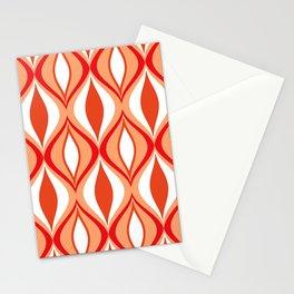 Mid-Century Modern Diamonds, Orange and White Stationery Cards