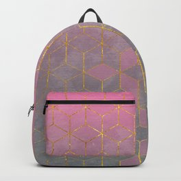 Pink and Grey Gradient Cube Pattern Backpack