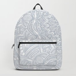 Light Gray Ethnic Eclectic Detailed Mandala Minimal Minimalistic Backpack
