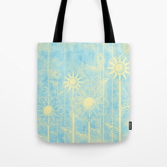 retro flowers in blue and yellow Tote Bag