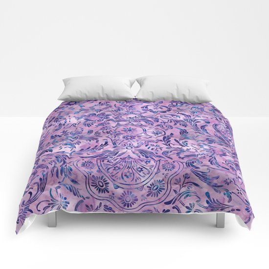 Watercolor Damask Pattern 02 Comforters