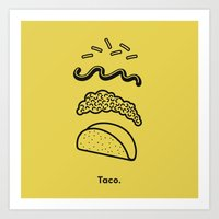 taco Art Prints featuring Taco Puzzle  by Rachel Peck