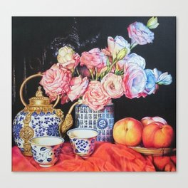 Chinoiserie Love: Tea Art of Conversation Canvas Print