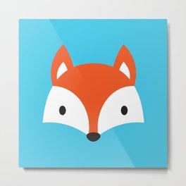 Cute Fox / Blue / Orange Metal Print