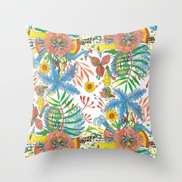 Flowers and Birds of Paradise Throw Pillow