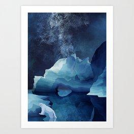 Polar Bear by night Art Print