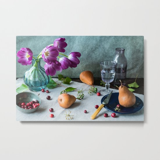 Still Life with Purple Tulips Metal Print