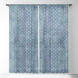Christmas Snowflakes Pattern  Sheer Curtain