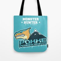 monster hunter Tote Bags featuring Monster Hunter All Stars - Pokke Permafrosts  by Bleached ink