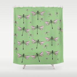 Rose Wing Swamp Dragonflies Green Jade Color Art design Shower Curtain