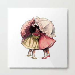 Vintage Children Girls with Umbrellas Metal Print