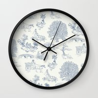 lotr Wall Clocks featuring Shire Toile by Jackie Sullivan