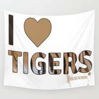 tigers Wall Tapestries featuring I love tigers by Big Cat Network
