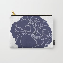 Dusty Blue- Flower in navy with white detail Carry-All Pouch