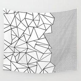Abstract Outline Grid Black on White Wall Tapestry