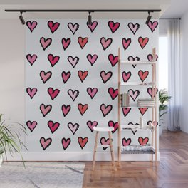Cute Girly Pink Hand Drawn Hearts on White Pattern Wall Mural