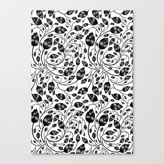 b&w flora pattern Canvas Print