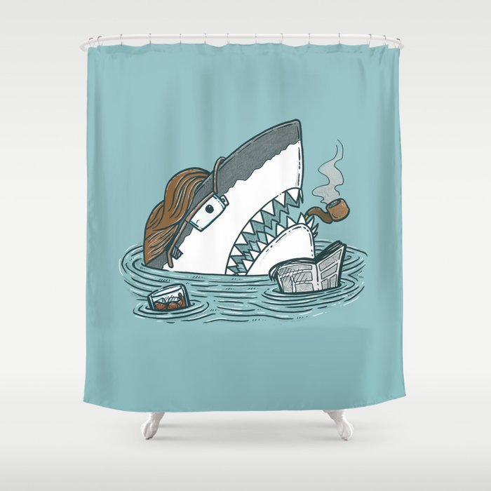 The Dad Shark Shower Curtain By Nickv47