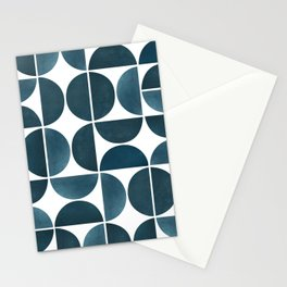 Teal Mid Century Modern Geometric Stationery Cards