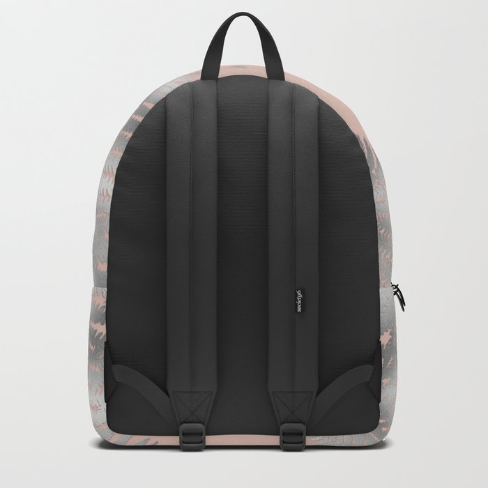 Silver fern leaves on rosegold background - abstract pattern Backpack