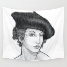 Woman Wearing Beret Wall Tapestry