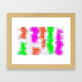 pink orange green and white pixel background Framed Art Print