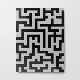 Black and Gray Labyrinth Metal Print