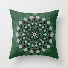 Green & Silver Floral Mandala Throw Pillow