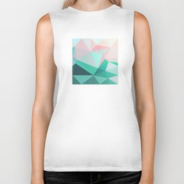 Geometric Landscape - Pink and Green Biker Tank