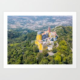 Aerial View Of Pena Palace In Sintra, Portugal, Aerial Drone Photography, Printable Wall Art Poster Art Print