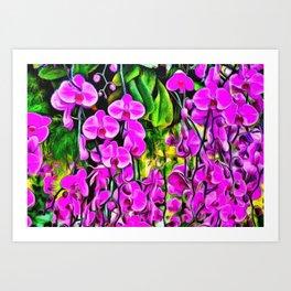 Purple Painterly Orchid Vines Art Print