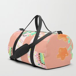Llama in a floral frame Duffle Bag