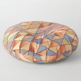 Triangles Circles Golden Sun Floor Pillow