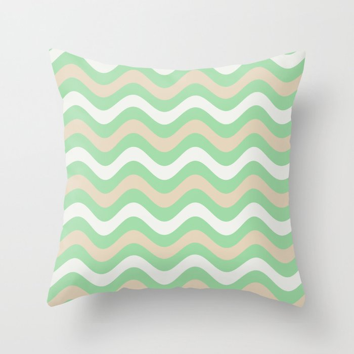 Pastel Green, Beige & Linen White Stripes Wavy Pattern Pairs to 2020 Color of the Year Neo Mint Throw Pillow
