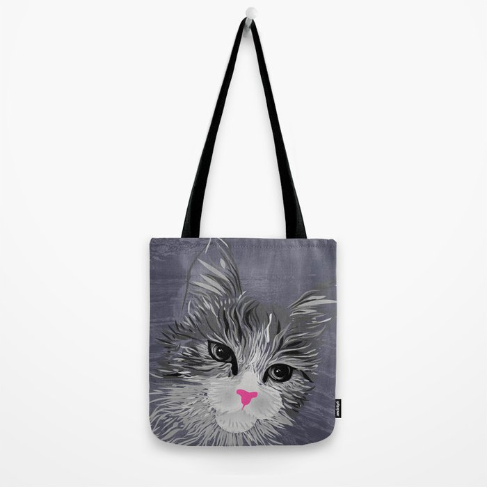 Gray Cat with Pink Nose Tote Bag