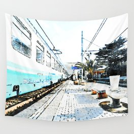 Agropoli: traveler with suitcase in the rail station Wall Tapestry