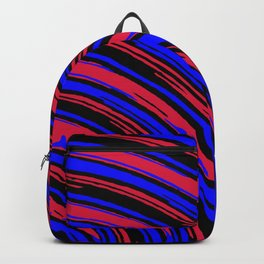 graffiti line drawing abstract pattern in red blue and black Backpack