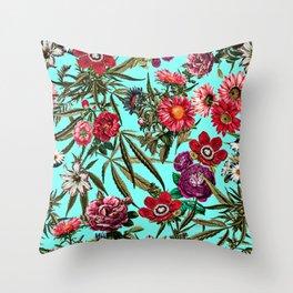 Marijuana and Floral Pattern II Throw Pillow