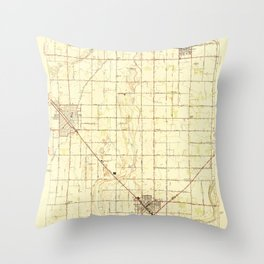 Selma, CA from 1947 Vintage Map - High Quality Throw Pillow