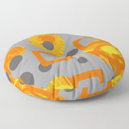 Orange yellow Rings Rectangles grey geometric Floor Pillow