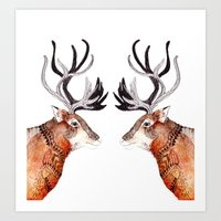 reindeer Art Prints featuring Reindeer  by Michelle Pegrume