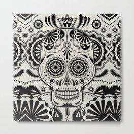 Sugar Skull Art B&W Metal Print