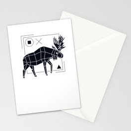 Elk Polygon Geometry Moose Antlers Wild Low Poly Stationery Cards