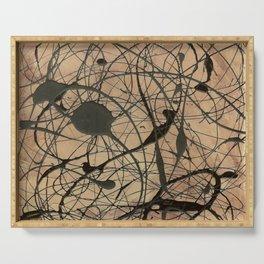 Pollock Inspired Cool Abstract Splatter Drip Art Painting - Corbin Henry Serving Tray