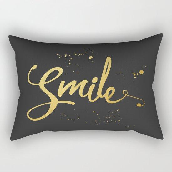 Gold Smile Quote Rectangular Pillow