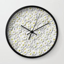 white daisy flowers Wall Clock