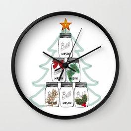 Ball Mason Jar Christmas Tree Drawing Wall Clock