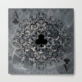 Ace of Clubs Mandala Metal Print