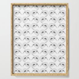 Kiwis in repeating grey pattern by NZ designer Serving Tray